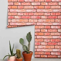 Walls Need Love Brick Removable Wallpaper- Red One