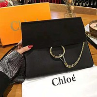 Chloe High Quality Stylish Women Simple Leather Shoulder Bag Crossbody Satchel Black