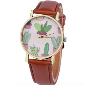 Cactus Print Brown Leather Watch