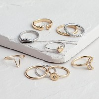 Gold and Silver Midi Rings, Set of 10