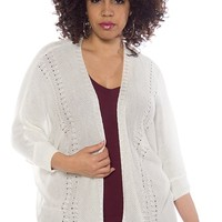 New Beginning Open Front Plus Size Knit Cardigan - Ivory
