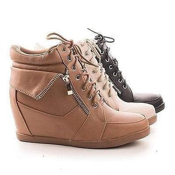 Peter30 By Top Moda, Folded Collar Round Toe Lace Up Hidden Wedge Fashion Sneakers