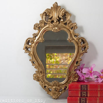 Gold Wall Hanging Mirror, Vintage French Style Ornate Gilded Framed Mirror, Wall Hanging Mirror