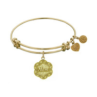 Antique  Stipple Finish Brass Mom On 7-Leaf Flower Like Charm Angelica Bangle, 7.25 Inches Adjustable