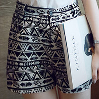 Black Geometric Printed High Waist Shorts