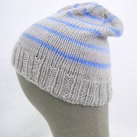 striped beanie 100% merino wool striped hat knit hat grey beanie merino hat merino beanie winter hat striped toque winter toque