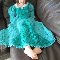 Princess Dress Blanket Green Child Size Ball Gown Lap Afghan Gift for Girls Gift for Kids Ready to Ship Made in Canada Fairytale Gift