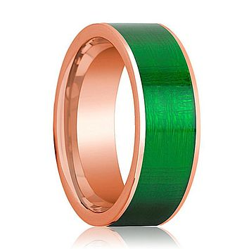 Flat 14k Rose Gold Wedding Band for Men with Green Texture Inlay Polished Finish - 8MM