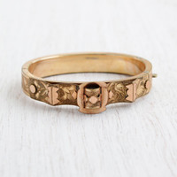 Antique Gold Filled Victorian Bracelet - 1870s Hinged Yellow & Rose Gold Filled Jewelry / Embossed Flowers