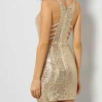 Gold Spaghetti Strap Sequined Bodycon Dress
