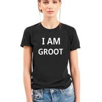 I AM GROOT Women T shirt Letters Cotton Casual Funny Shirt Plus Size