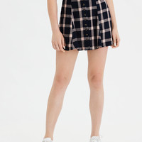 AE High-Waisted Button Front Skater Mini Skirt