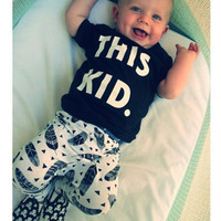 New 2016 baby boy clothes infant cotton letter printed short sleeve t-shirt + pants newborn 2pcs suit baby summer clothing sets