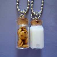 Milk and Cookie Best Friends Necklace by thegreatvorelli on Etsy