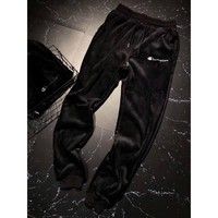 Champion Woman Men Fashion Velvet Embroidery Pants Trousers