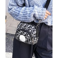 FENDI Trending Women Stylish FF Letter Canvas Purse Waist Bag Shoulder Bag Crossbody Satchel Light Grey
