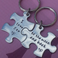 His and Her Puzzle Piece Keychain Set - Couples,Wedding, Anniversary Keychain, I love you to the moon and back