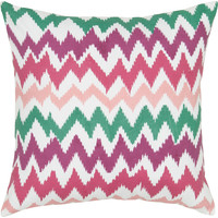 """Multi Colored Printed Ivory Pillow Cover (18"""" x 18"""")"""
