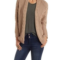 Cable Knit Dolman Sleeve Open Front Cardigan