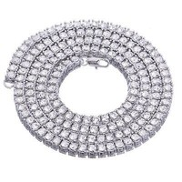"""Jewelry Kay style Men's Fashion Iced Out 4 mm 22"""" Round Stone Silver Plated Tennis Chain Necklace"""