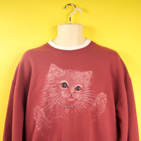 """Vintage """"Ugly but Cute"""" Cat Sweater w/ Glitter and Rhinestone Eyes Kitsch Kawaii Style Unisex Size Large"""