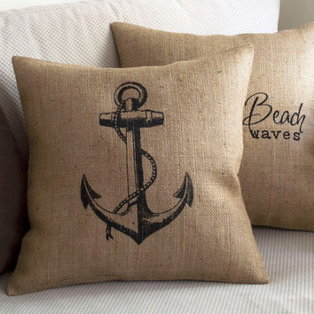 Burlap Anchor Pillow Cover - Coastal Pillow Burlap Feed Sack Pillow Nautical Design Beach House Decor Lake House Pillow Burlap Anchor Pillow