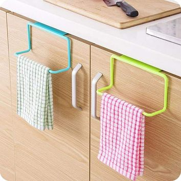 Kitchen Organizer Towel Rack Hanging Holder Door Back Hanging Style Cabinet Stand Trash Garbage Bags Support Holder Shelf