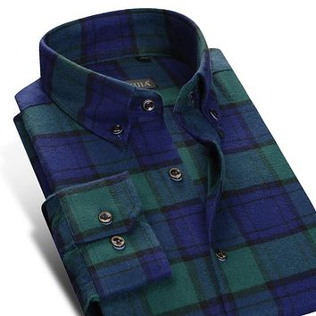 Men's Contrast Bold Check Plaid Brushed Cotton Dress Shirt Smart Casual Slim Fit Long Sleeve Button-Down Thick Flannel Shirts