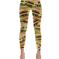 Double Cheeseburger Print Leggings