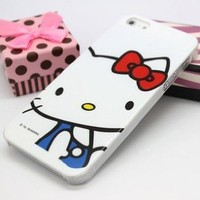 New iPhone 5 Hello Kitty Resin Hard Case/Cover/Protector White Face Style