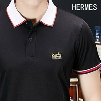 Hermes Popular Men Casual Embroidery Short Sleeve Lapel Shirt Top Tee