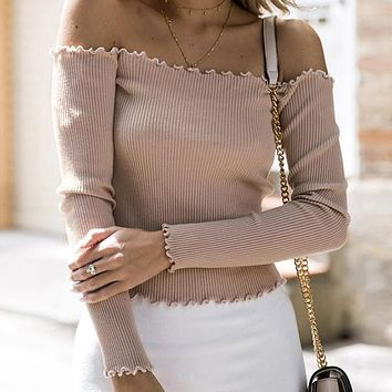 Off Shoulder Solid Vintage Jumper Women Short Basic Sweater Sexy Ruffle Sweater Kintwear