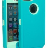 Iphone 5 Body Armor Case Teal on Baby Blue Teal Comparable to Otterbox Defender Series + Bonus Cube Charger