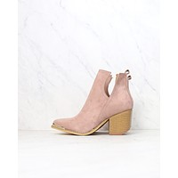 Vegan Suede Side Cut Out Booties with Metal Tip in Rose