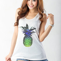 Pineapple Tank Top Graphic and Printed Top