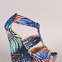 Liliana Palm Leaves Print Zipper Platform Wedge