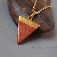 Red Goldstone Triangle Gemstone Pendant Necklace Gold Plated Chain Red Gemstone Pyramid Crystal