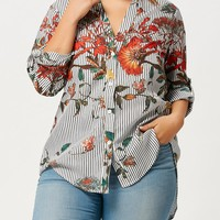 Flower Leaf Plus Size High Low Shirt