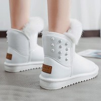 New White Round Toe Flat Rivet Fashion Ankle Boots