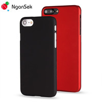 NganSek Red Mobile Phone Cases For iPhone SE 4 4S 5 5S 6 6s 7 Plus Cases Cover Simple Plain Colorful Phone Case