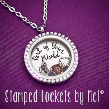 Part of Your World - Hand Stamped Stainless Steel Necklace - Floating Glass Memory Locket - Little Mermaid Disney Inspired Jewelry - Ariel