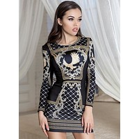 Shelby Studded Long Sleeve Stretch Crepe Dress