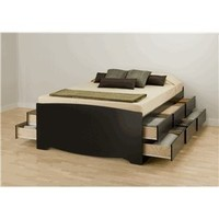 Black Tall Queen Captain's Platform Storage Bed with 12 Drawers