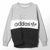 Adidas Women Fashion Round Neck Top Sweater Pullover Sweatshirt