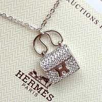 Hermes New Women's Full Diamond Pendant Necklace