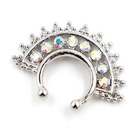 Clearance Sale! Stay Strong Double Line Paved Gem Non-piercing Nose Ring Fake Septum Hanger with 8-gemmed Assorted Color CZ Crystals Nose Hoop Body Jewelry