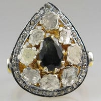 Victorian Estate Style 2.98ct Rose Cut Antique Cut Diamond .925 Silver Ring