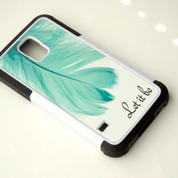 Personalized Samsung Galaxy S5 Case, Monogram Protective Phone Case + Feather + teal + Inspirational Quote, iPhone 6 Case, 6+ Case