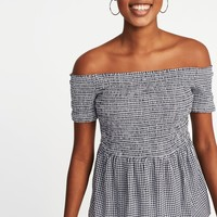 Relaxed Off-the-Shoulder Smocked Top for Women  old-navy