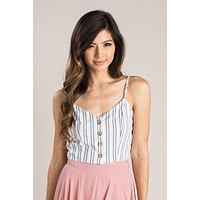 Yvette Navy Striped Linen Cami